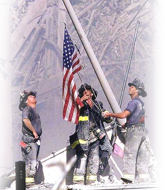 9/11 Firefighters and Flag
